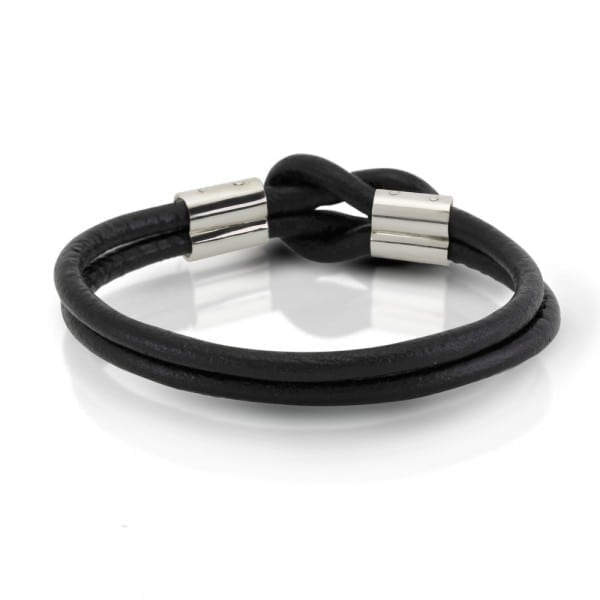 Silver Leather Mens Bracelet by Scarab Jewellery Studio