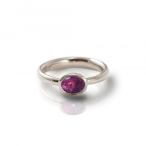 Secret Scarab Oval Amethyst Silver Ring by Scarab Jewellery Studio