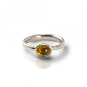 Secret Scarab Oval Citrine Silver Ring by Scarab Jewellery Studio