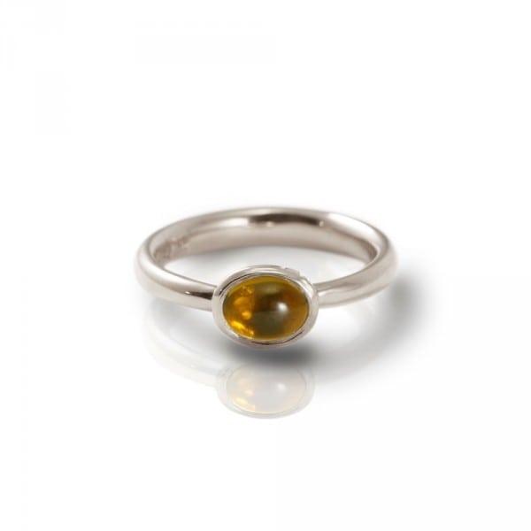 Secret Scarab Oval Citrine Silver Ring by Scarab Jewellery Studio