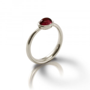 Secret Scarab Oval Garnet Silver Ring by Scarab Jewellery Studio