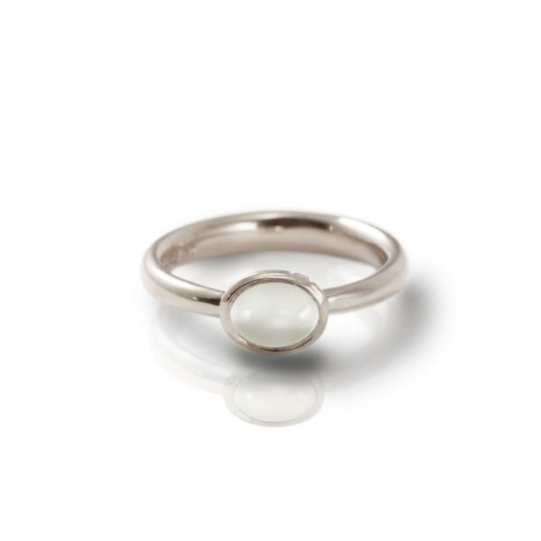 Secret Scarab Oval Moonstone Silver Ring by Scarab Jewellery Studio