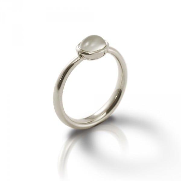Secret Scarab Oval Moonstone Silver Ring by Scarab Jewellery Studio