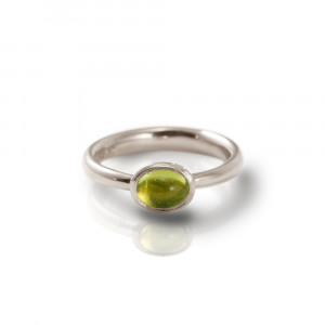 Secret Scarab Oval Peridot Silver Ring by Scarab Jewellery Studio