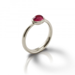 Secret Scarab Oval Pink Tourmaline Silver Ring by Scarab Jewellery Studio