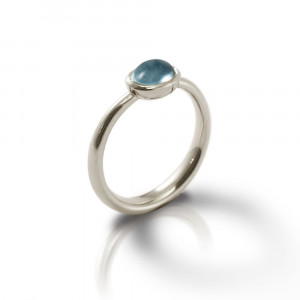 Secret Scarab Oval Blue Topaz Silver Ring by Scarab Jewellery Studio