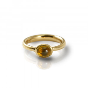Secret Scarab Oval Citrine Gold Ring by Scarab Jewellery Studio