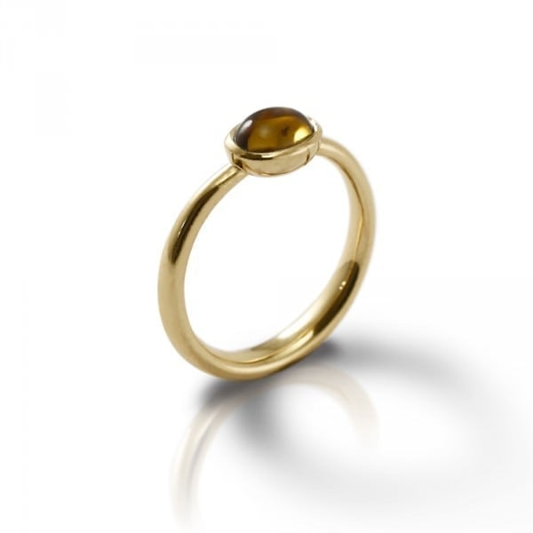 Secret Scarab Oval Citrine Gold Ring by Scarab Jewellery Studio