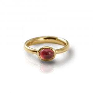 Secret Scarab Oval Pink Tourmaline Gold Ring by Scarab Jewellery Studio