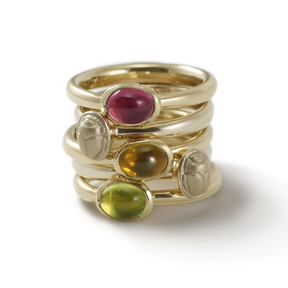 Secret Scarab Oval gemstone Gold Ring stacked with Tiny Scarab Gold Ring by Scarab Jewellery Studio