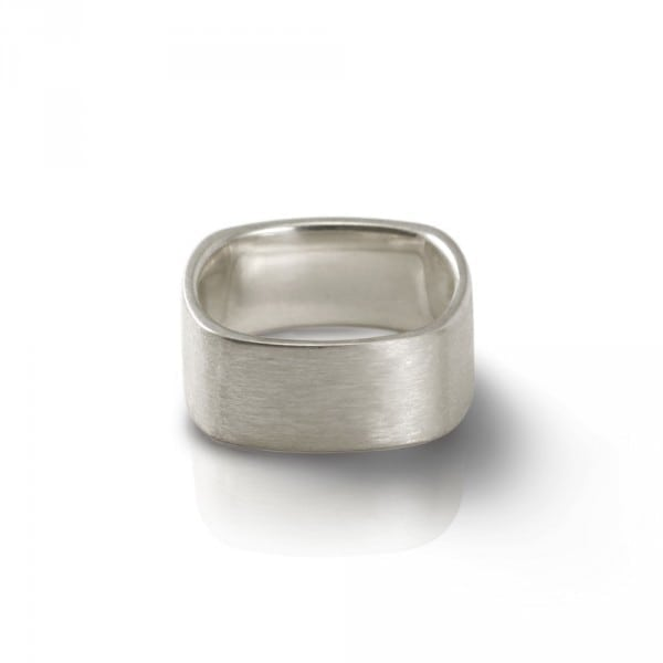 Mens Solid Silver Soft Square Ring by Scarab Jewellery Studio