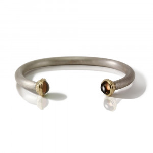 Silver Smokey Quartz Torque Bangle by Scarab Jewellery Studio