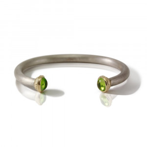 Silver Peridot Torque Bangle by Scarab Jewellery Studio