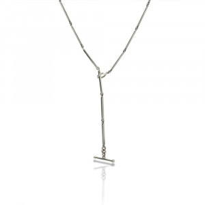 Silver Long Round Bar Link Chain Necklace by Scarab Jewellery Studio