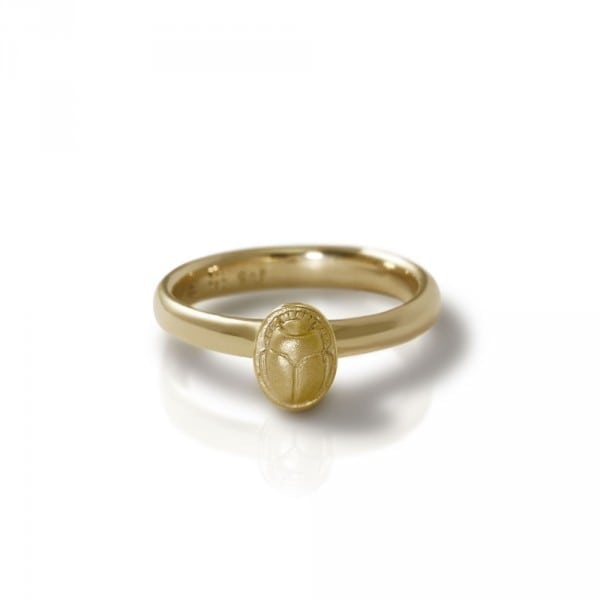 Tiny Scarab Gold Ring | Little Bug - designed as a stacking ring - by Scarab Jewellery Studio