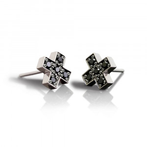 Silver Swiss Cross Black Diamond Earrings by Scarab Jewellery Studio