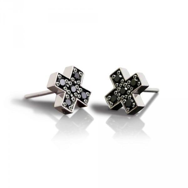 Silver Swiss Cross Black Diamond Earrings by Scarab Jewellery Studio