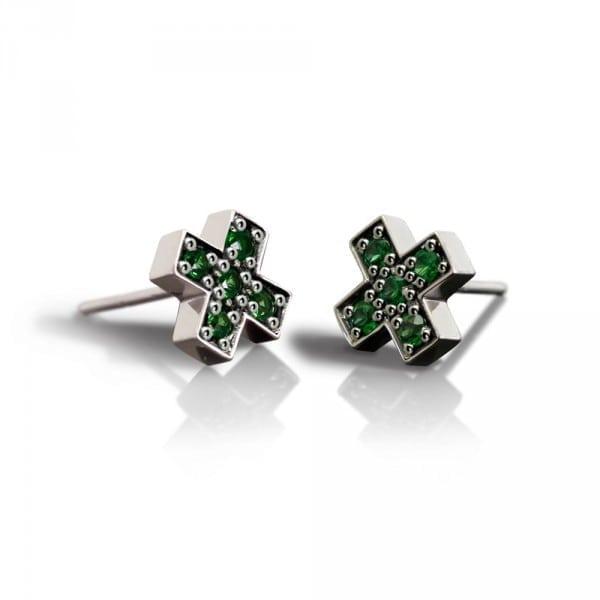 Silver Swiss Cross Green Tsavorite Earrings by Scarab Jewellery Studio