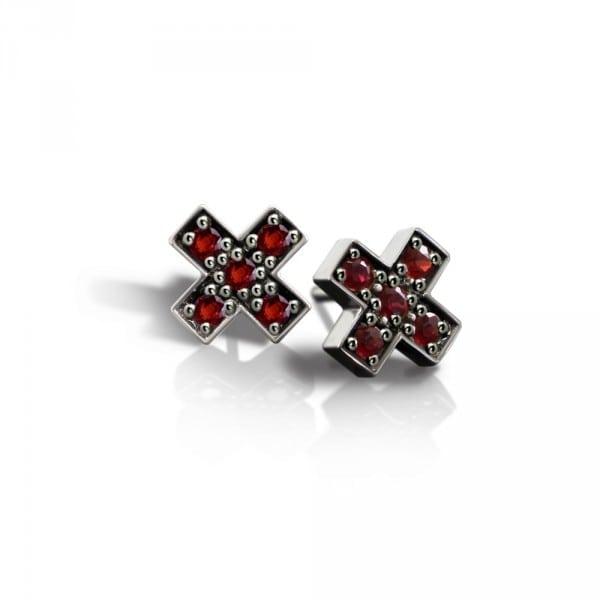 Silver Swiss Cross Red Sapphire Earrings by Scarab Jewellery Studio