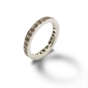white gold eternity band cognac diamonds by Scarab Jewellery Studio