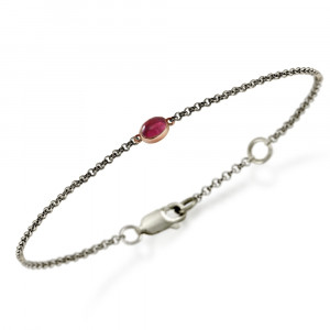 Silver Red Gold Pink Tourmaline Bracelet by Scarab Jewellery Studio