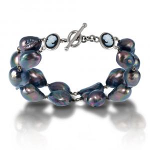 Cameo Black Baroque Pearl Bracelet by Scarab Jewellery Studio