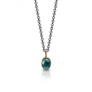 Secret Scarab Oval Blue Topaz Pendant - swiss blue topaz cabouchon gold pendant - Scarab Jewellery Studio