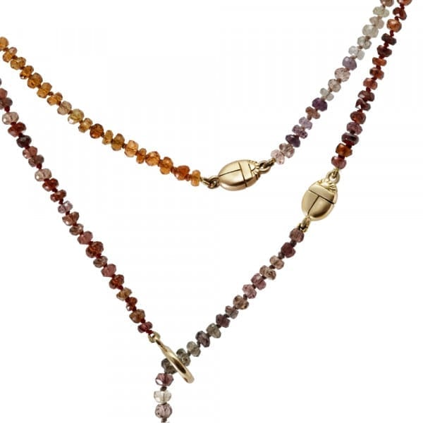 Natural Sapphire Faceted Rainbow Bead Necklace by Scarab Jewellery Studio
