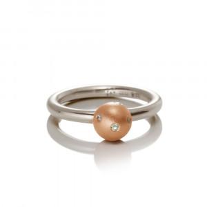 Silver Red Gold Gypsy Diamond Ball Ring - gypsy setting, flush setting, swiss setting - by Scarab Jewellery Studio