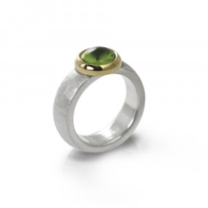 Modern Chunky Silver Peridot Ring by Scarab Jewellery Studio