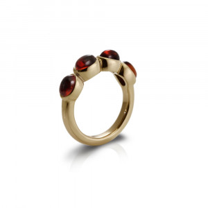 Gold Ring Four Garnet Oval Cabouchons by Scarab Jewellery Studio