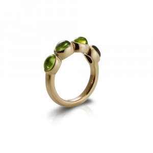 Gold Ring Four Peridot Oval Cabouchons by Scarab Jewellery Studio