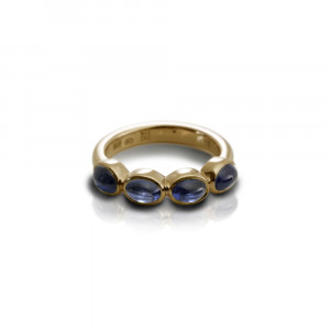 Gold Ring Four Blue Sapphire Oval Cabouchons by Scarab Jewellery Studio