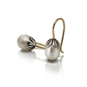 Two-tone Silver Gold Pearl Drop Earrings by Scarab Jewellery Studio