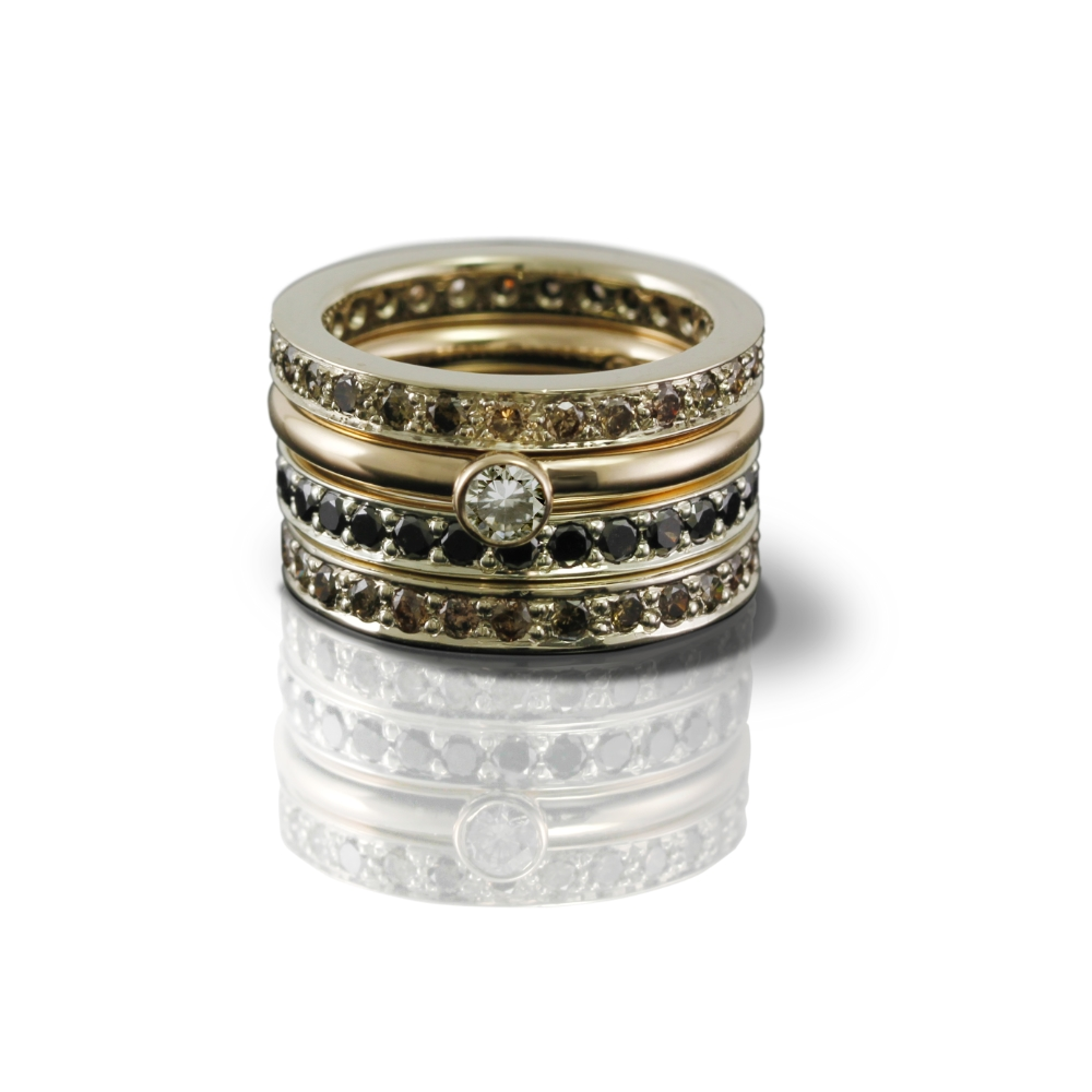 white gold eternity band cognac diamonds and white gold eternity band black diamonds by Scarab Jewellery Studio
