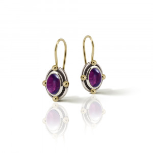 Oval Amethyst Cabochon Drop Earrings by Scarab Jewellery Studio - February Birthstone Jewellery