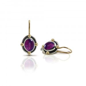 Oval Amethyst Cabochon Drop Earrings by Scarab Jewellery Studio