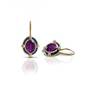 Oval Amethyst Cabochon Drop Earrings by Scarab Jewellery Studio
