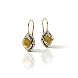 Oval Citrine Cabochon Drop Earrings by Scarab Jewellery Studio