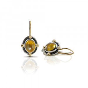 Oval Citrine Cabochon Drop Earrings by Scarab Jewellery Studio