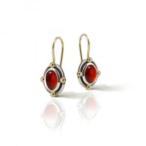 Oval Garnet Cabochon Drop Earrings by Scarab Jewellery Studio
