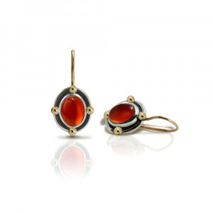 Oval Garnet Cabochon Drop Earrings by Scarab Jewellery Studio