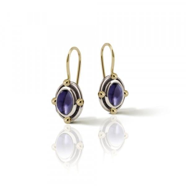 Oval Iolite Cabochon Drop Earrings by Scarab Jewellery Studio