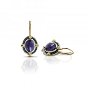 Oval Iolite Cabochon Drop Earrings by Scarab Jewellery Studio