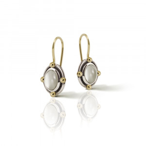 Oval Moonstone Cabochon Drop Earrings by Scarab Jewellery Studio