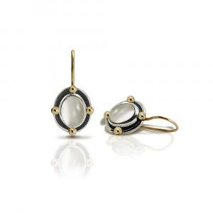 Oval Moonstone Cabochon Drop Earrings by Scarab Jewellery Studio
