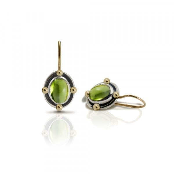 Oval Peridot Cabochon Drop Earrings by Scarab Jewellery Studio