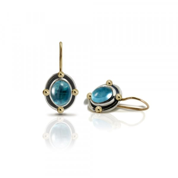 Oval Blue Topaz Cabochon Drop Earrings by Scarab Jewellery Studio