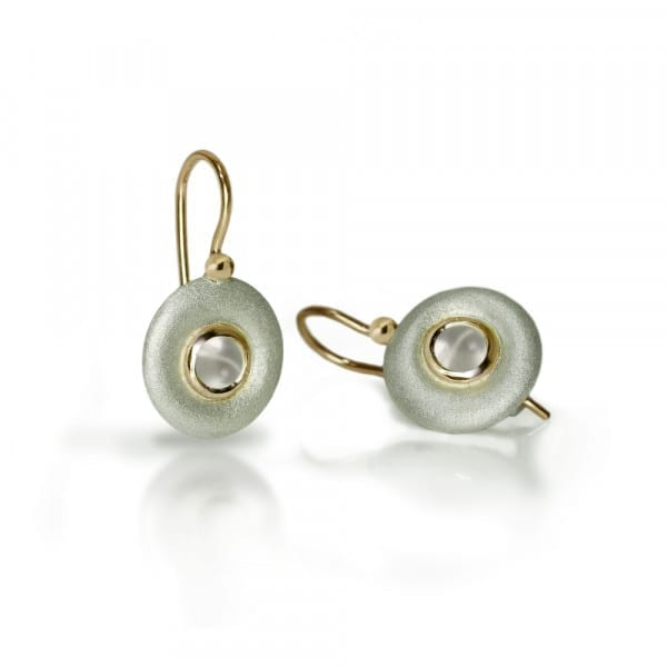 Silver Moonstone Donut earrings by Scarab Jewellery Studio