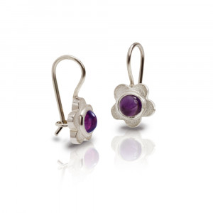 Silver Shasta Daisy Amethyst Earrings by Scarab Jewellery Studio